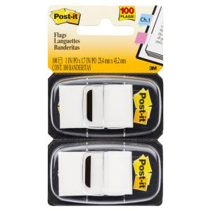 POST- IT FLAGS 680-WE2  TWIN PACK WHITE 100