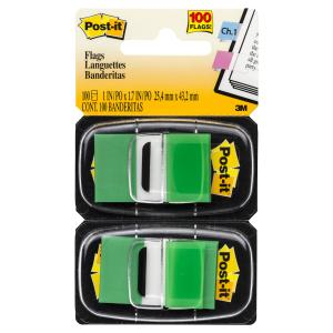 POST- IT FLAGS 680-GN2  TWIN PACK GREEN 100