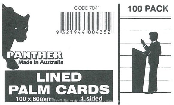 Palm Cards Panther White 60x100mm Pack of 100