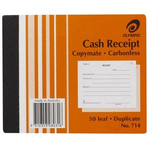CASH RECEIPT BOOK #714 OLYMPIC CARBONLESS DUPLICATE  5X4
