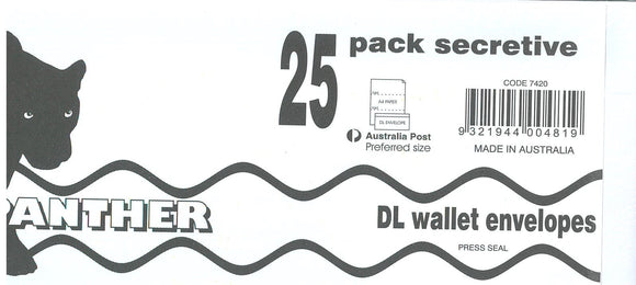 ENVELOPE Panther DL  Plain Face Self Seal  110x220mm PKT of 25