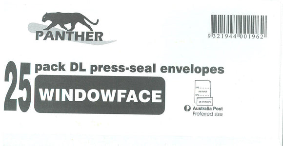 ENVELOPE  Panther DL Window Face Self Seal Secretive  110x220mm PKT of 25