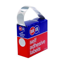 LABEL QUIK STIK DISP 24MM SILVER DOT