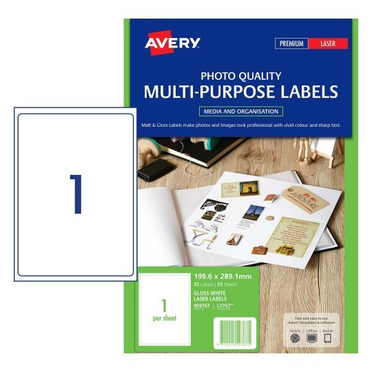 LABEL AVERY LASER L7767 GLOSS 1L 199.6X289.1MM 25'S