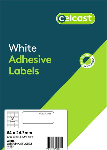 LABELS CELCAST 33UP 64X24.3MM LASER/INKJET WHITE PK100