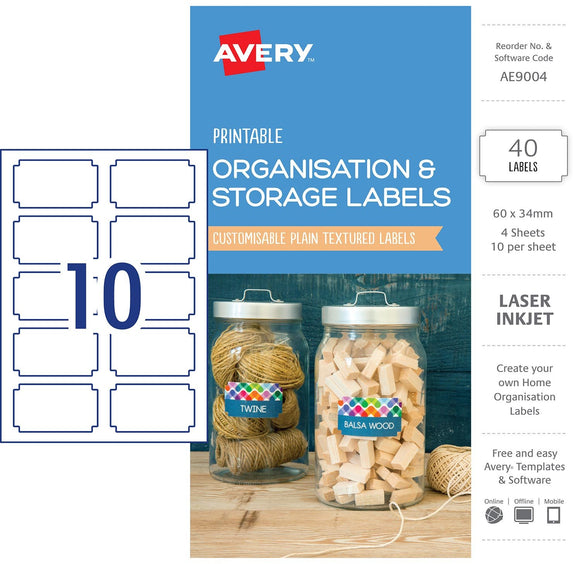 LABELS PRINTABLE AVERY 60X34MM 40PK ORGANISATION & STORAGE WHITE