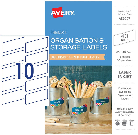 LABELS PRINTABLE AVERY 66X46.5MM 40PK ORGANISATION & STORAGE WHITE