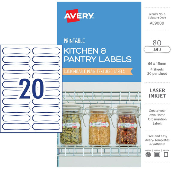 LABELS PRINTABLE AVERY 66X15MM 80PK ORGANISATION & STORAGE WHITE