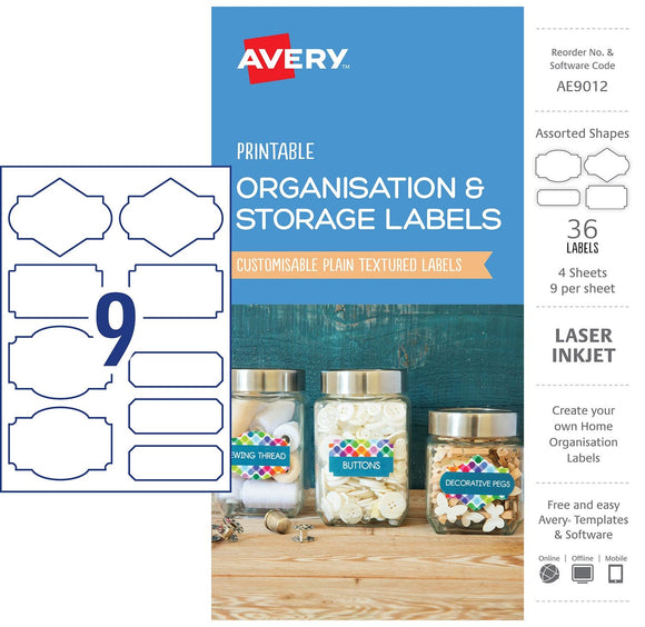 LABELS PRINTABLE AVERY ASSORTED SIZE 36PK ORGANISATION & STORAGE WHITE