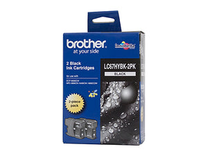 Brother LC67BK Black Ink Cartridge High Capacity - Twin pack of LC67HYBK