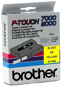 Brother TX-651 Black on Yellow 24mm x 8m Label Cassette (Original)