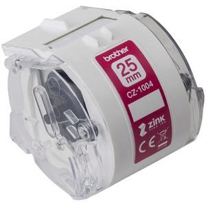Brother CZ1004 White Label Roll Tape Cassette 25mm x 5m