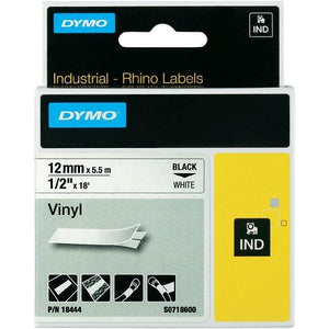 Dymo Rhino Black on White Tape - 12mm x 5.5m