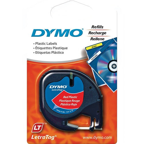 Dymo LetraTag Plastic Tape 12mm x 4m Red