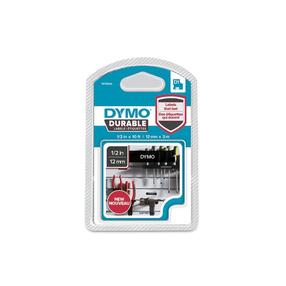 Dymo D1 Durable Lable White on Black 12mm x 3m