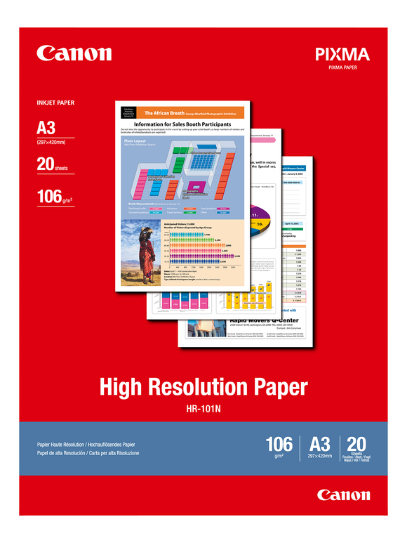 Canon A3 High Res Paper HR-101  20 Sheets - 106gsm