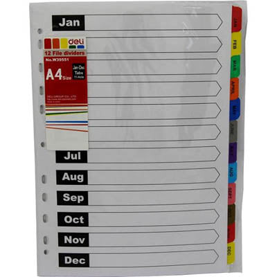 DIVIDERS Deli A4 JAN-DEC MYLAR TAB BRIGHTS