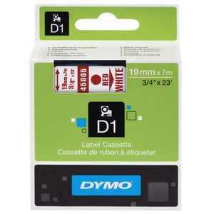 Dymo D1 Label Cassette 19mmx7m - Red on White