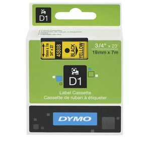 Dymo D1 Label Cassette 19mmx7m - Black on Yellow