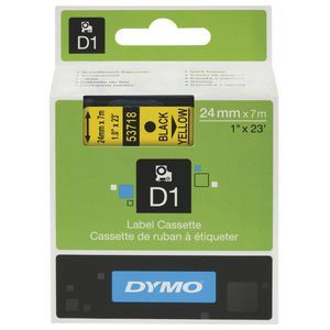 Dymo D1 Label Cassette 24mmx7m - Black on Yellow