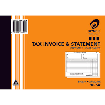 INVOICE / STATEMENT BOOK #728 OLYMPIC C/LESS DUP 8X6