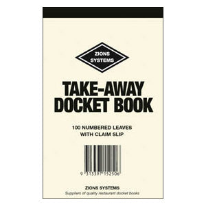 DOCKET BOOK ZIONS TAKE AWAY TA See variants for qty discounts