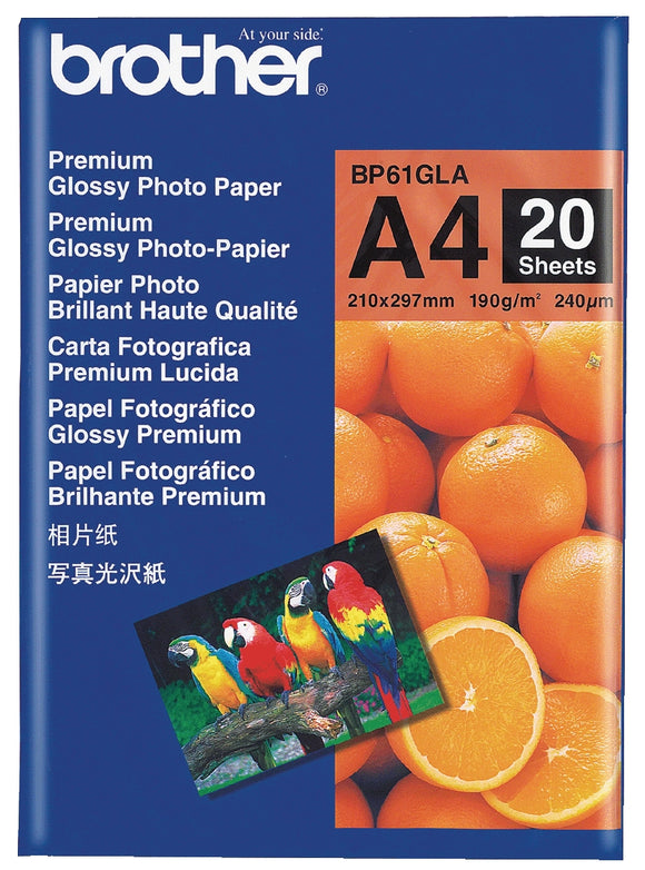Brother BP61GLA Glossy Paper - 20 Sheets Premium Glossy Paper 4x6inch