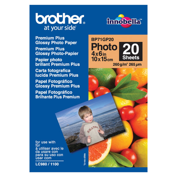 Brother BP71GP20 Glossy Paper - 20 Sheets Premium Glossy Paper 4x6inch