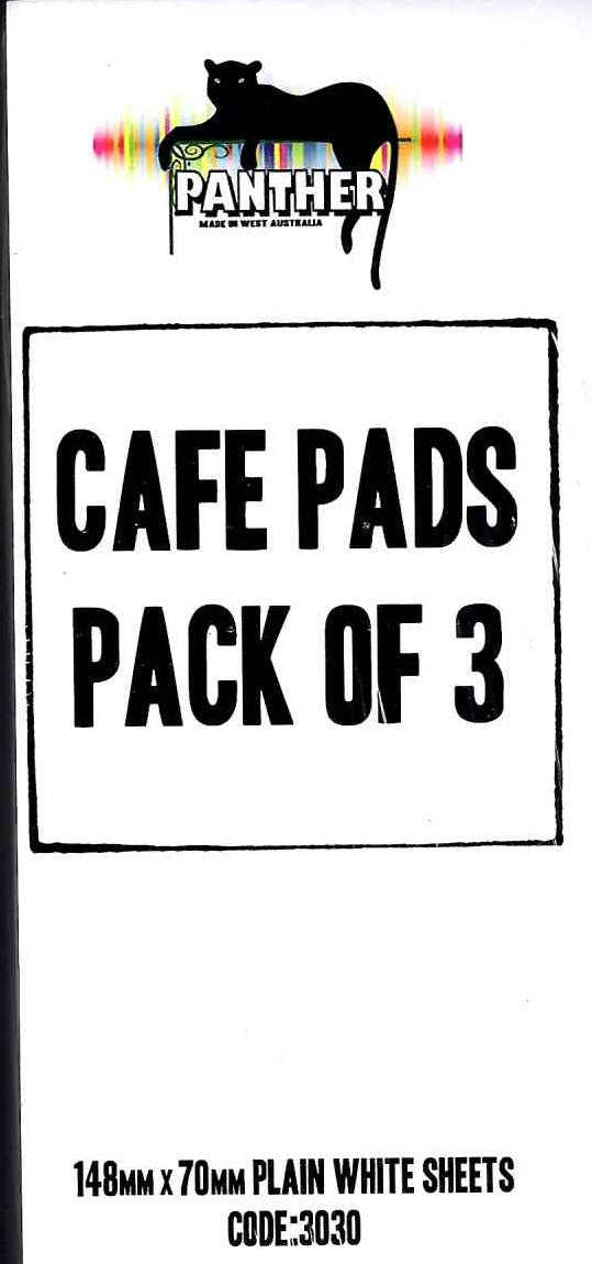 Cafe docket pad plain. Pack of 3