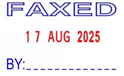 STAMP DESKMATE SELF INKING FAXED/DATE BLUE/RED
