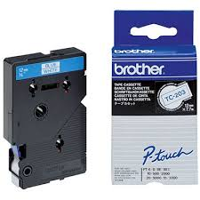 Brother 12mm Blue on White Labelling Tape - 8 meters