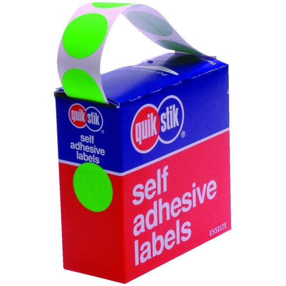 LABEL QUIK STIK DISP 24MM FLUORO GREEN DOT