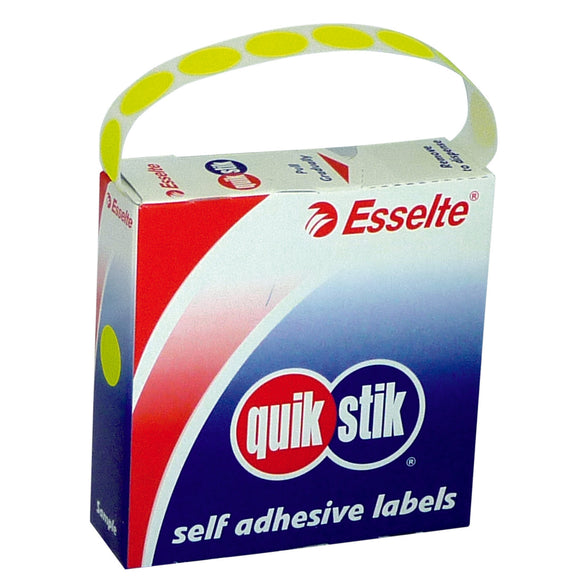 LABEL QUIK STIK DISP 24MM FLUORO YELLOW DOT