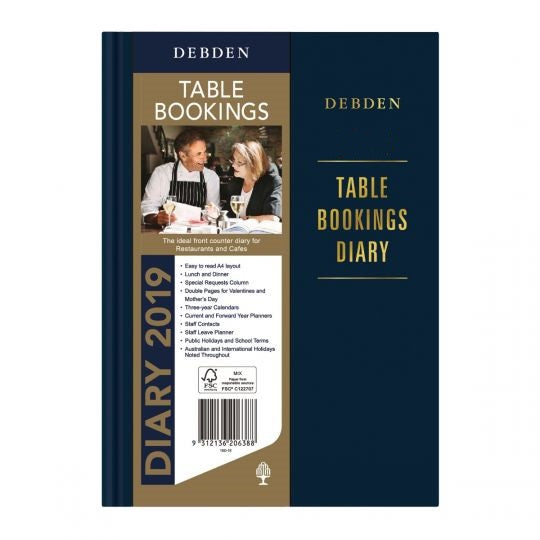 Debden Table Bookings Diary - A4 2 Pages to a Day