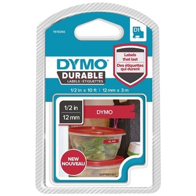 Dymo D1 Durable Lable White on Red 12mm x 3m