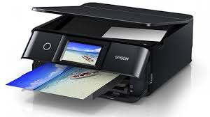 Epson XP8600 Inkjet MFP with dedicated photo and CDs/DVDs trays.