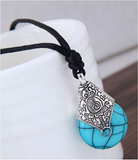 Turquoise Gemstone Crystal Necklace