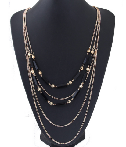 Gold & Black Long Necklace