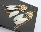 White Drop Feather Earrings