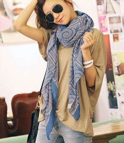 Blue Winter Print Scarf