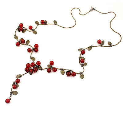 Red Flower Long Necklace