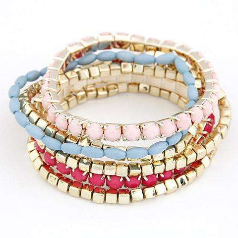 Multi-Colour Diamante Bracelet Set