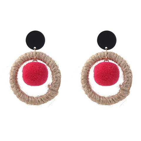 Red Vintage Hoop Earrings