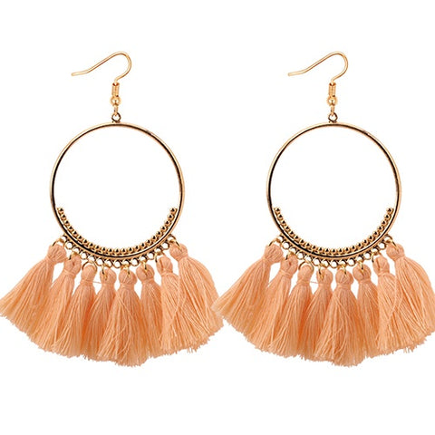 Nude Hoop Tassel Earrings