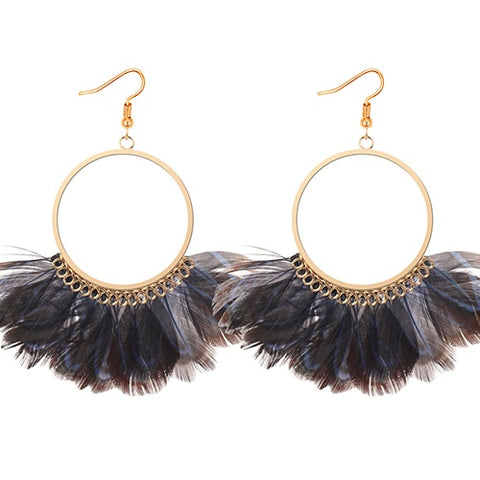 Navy Feather Hoop Earrings