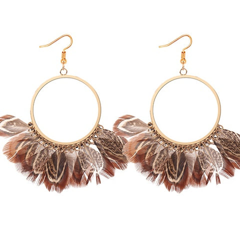 Nude Feather Hoop Earrings