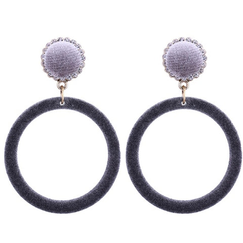 Silver Velvet Hoop Earrings