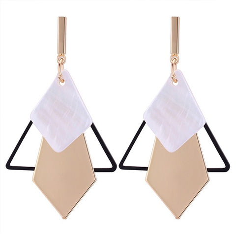 Geometric Shell Drop Earrings