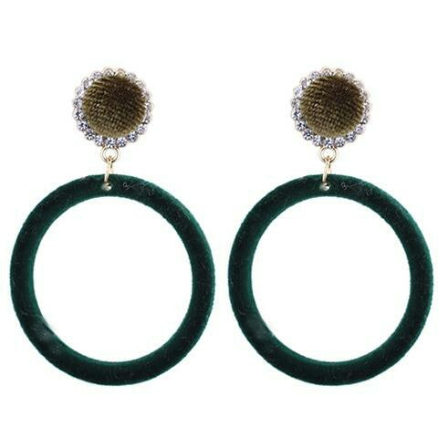 Bottle Green Velvet Hoop Earrings