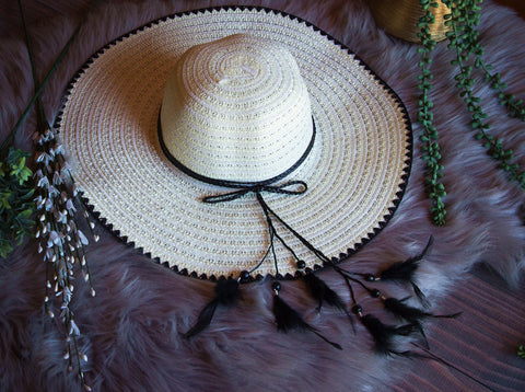 Cream Hat with Feather Detail